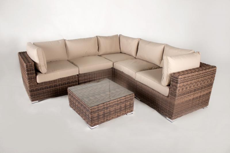 Угловой модульный диван CRUZO Раунд искусственный ротанг коричневый d0001