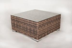 Пуф-столик CRUZO Раунд искусственный ротанг, коричневый, d0024