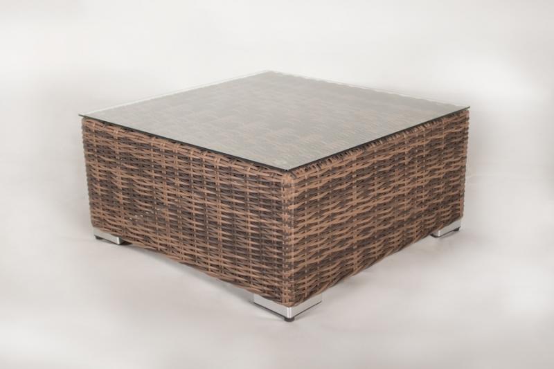 Пуф - столик CRUZO Раунд искусственный ротанг коричневый d0024