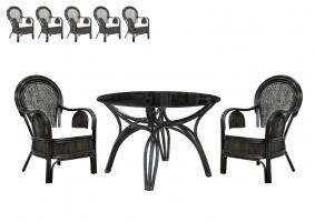 Обідній комплект CRUZO Самбір (стіл + 5 крісел) натуральний ротанг коричневий ok0009
