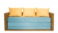 Диван-кровать Уго из натурального ротанга с голубым матрасом CRUZO™ go0001