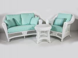 Комплект плетених меблів Сопрано CRUZO (диван, софа, крісло, 2 столика) штучний ротанг, білий, sp0002