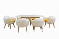 Обеденный комплект Ай CRUZO (стол и 5 кресел) искусственный ротанг белый ok0003