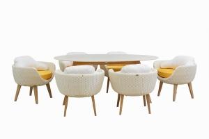 """Обеденный комплект """"Ei"""" (стол +6 кресел) тик / искусственный ротанг белый, Cruzo™ ok0003"""