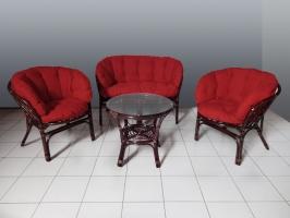 Комплект мебели Таврия Фуларм Ред CRUZO (софа, 2 кресла и столик) натуральный ротанг темно-коричневый d00092