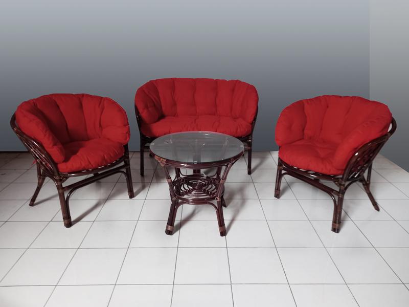 Комплект меблів Таврія Фуларм Ред з натурального ротангу софа, 2 крісла й кавовий столик  темно-коричневий CRUZO d00092