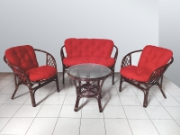 Комплект мебели Таврия Ред из натурального ротанга  софа, 2 кресла и кофейный столик темно-коричневый CRUZO d00093