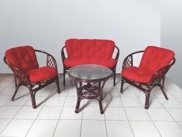 Комплект мебели Таврия Ред CRUZO (софа, 2 кресла, столик) натуральный ротанг темно-коричневый d00093