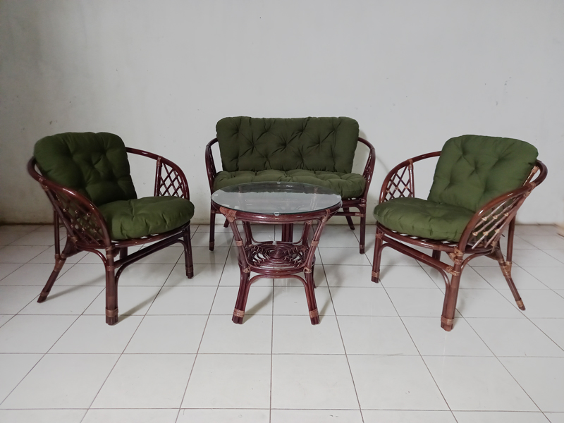 Комплект мебели Таврия Дарк-грин из натурального ротанга софа, 2 кресла и кофейный столик темно-коричневый CRUZO d00094