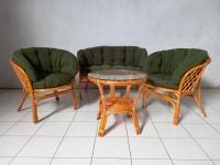 Комплект мебели Таврия Фуларм Дарк-грин из натурального ротанга софа, 2 кресла и кофейный столик светло-коричневый CRUZO d00095