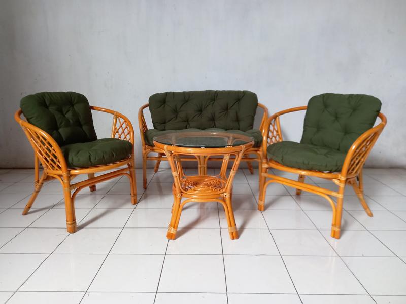 Комплект мебели Таврия Дарк-грин из натурального ротанга софа, 2 кресла и кофейный столик светло-коричневый CRUZO d00099
