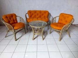 Комплект мебели Таврия Оранж из натурального ротанга софа, 2 кресла и кофейный столик серый CRUZO d00097