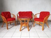 Комплект меблів Таврія Ред з натурального ротангу  софа, 2 крісла та кавовий столик світло-коричневий  CRUZO d00096