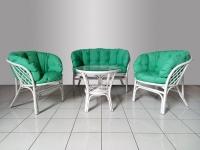 Комплект мебли Таврия Фуларм Грин из натурального ротанга софа, 2 кресла и кофейный столик  белый CRUZO d00091
