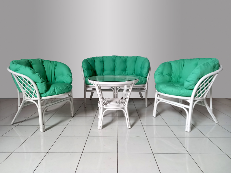 Комплект меблів Таврія Фуларм Грін CRUZO з натурального ротангу софа, 2 крісла й кавовий столик  білий d00091