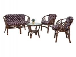 Комплект мебели Таврия CRUZO (софа +2 кресла и столик) натуральный ротанг орех d0009