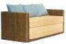 Розкладний плетений диван Уго з натурального ротангу світло-коричневий жовтий CRUZO go0002