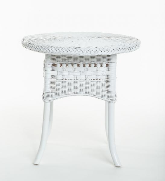 Приставний столик Вікторія CRUZO натуральний ротанг, білий, kk0444v