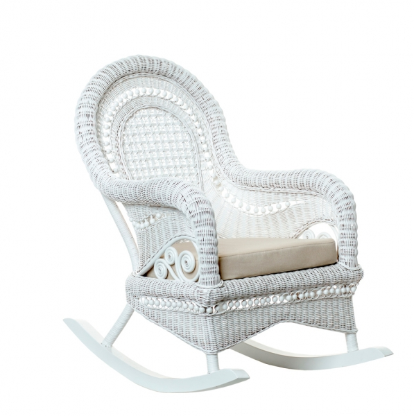Кресло качалка Виктория CRUZO натуральный ротанг, белый, kk00140v
