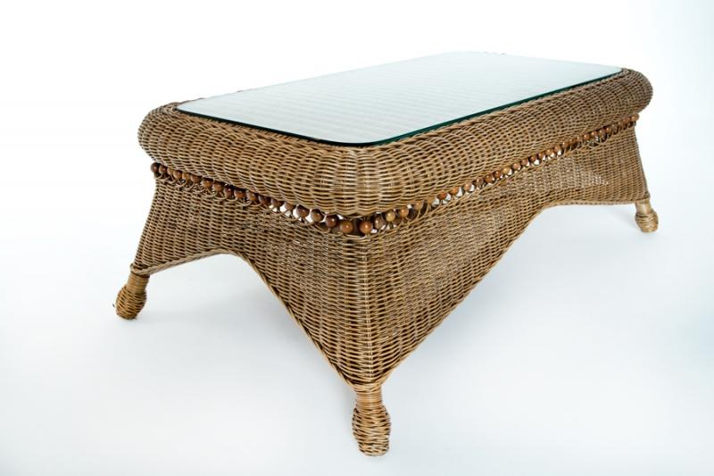 Столик кавовий Вікторія Cruzo натуральний ротанг, світло-коричневий, d0131