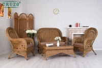 Комплект мебели Виктория CRUZO натуральный ротанг, светло-коричневый, d0029