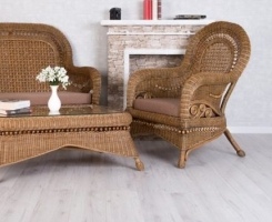 Комплект Виктория CRUZO (2 кресла и столик) натуральный ротанг светло коричневый d0028