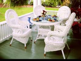 Обідній комплект Вікторія CRUZO (стіл і 4 крісла) натуральний ротанг, білий, ok08218