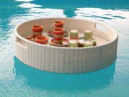 Плавающий поднос для бассейна из искусственного ротанга белого цвета CRUZO dec0408